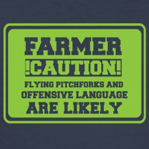 Farmer / farmer / farmer: Farmer! Caution! Flying - Men's Slim Fit T-Shirt