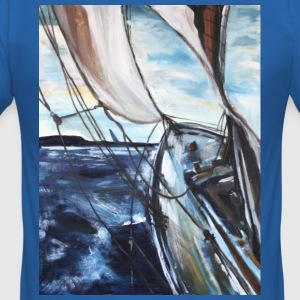 boat sailing vessel Sea Wind storm waves painting - Men's Slim Fit T-Shirt