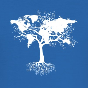 Tree with world map - Men's Slim Fit T-Shirt