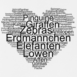 Tiere, Wordcloud in Herzform, I love - Männer Tank Top atmungsaktiv