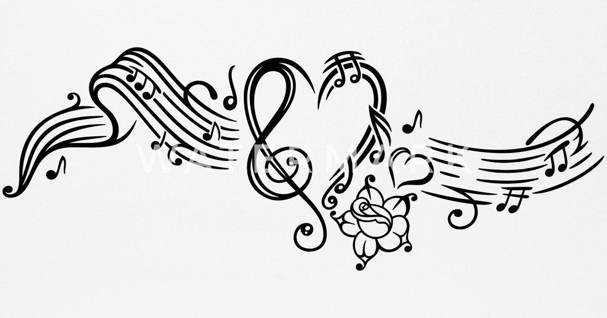 sheet music with music notes  clef and flowers by christine