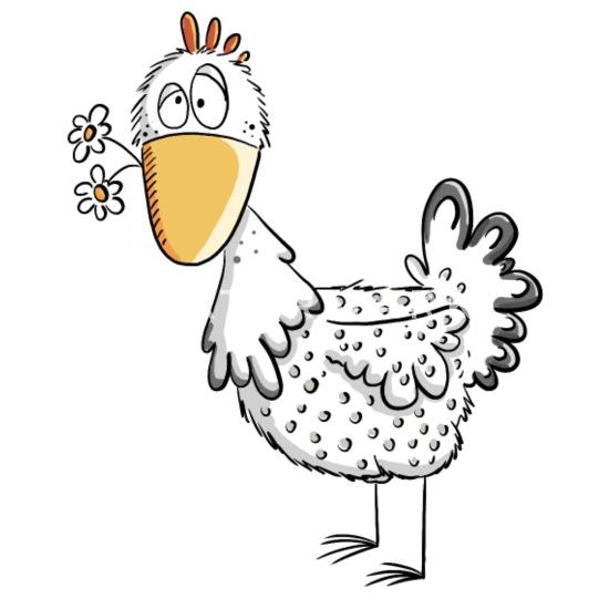 Gallina Feliz Con Margaritas I Pollo Diseño De Dibujos Animados Alfombrilla De Ratón Horizontal Blanco