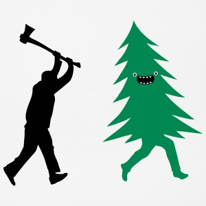 Funny Christmas tree is chased by  Lumberjack