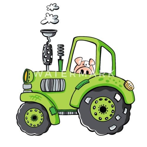 Schwein Fährt Traktor Trekker Bulldog Comic Untersetzer
