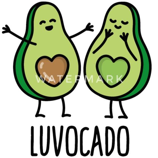 Luvocado Love Luv Kawaii Mignonne Avocat Cadeau Dessous De Verre Spreadshirt