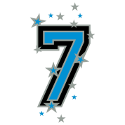 The number seven 7 with  stars