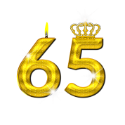 65 birthday - Crown - candle - gold