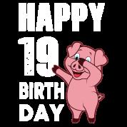 19 Jaar Gelukkige Verjaardag Piggy Baby Longsleeve Spreadshirt