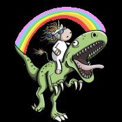 Unicorn Rides Dinosaur T Rex Under Rainbow by Shirtando ...