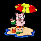 Piggy Sur La Plage Avec Dessin Animé De Vacances Cocktail T Shirt Manches Longues Bébé Blanc