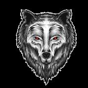 Wolf Kopf Stoffbeutel Schwarz