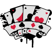 four playing cards and a banner
