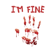 I'm fine  | Bloody hand Halloween horror Baby Long Sleeve T-Shirt - white