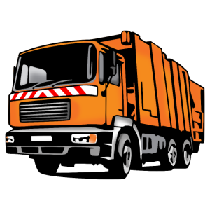 Müllauto, Müllfahrzeug, Entsorgung (coloriert)