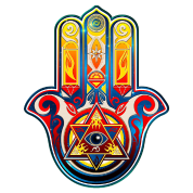Hamsa Hand Of Fatima Symbol Khamsa Pyramide Vrouwen T Shirt Met