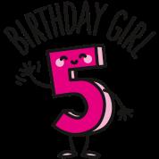 Birthday Girl Verjaardag Meisje 5 Vijf Jaar Oud Gymtas Spreadshirt