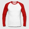 muscle man bending flexing muscles solid Long sleeve shirts - Men's Long Sleeve Baseball T-Shirt