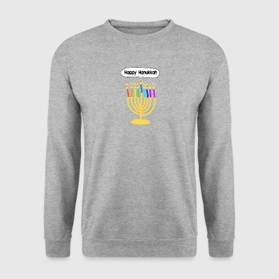 Happy Hanukkah cute cartoon smiley menorah Hoodies & Sweatshirts - Men's Sweatshirt