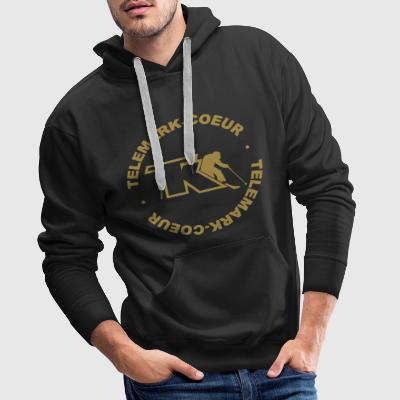 Telemark-Coeur Old School Sweat-shirts - Sweat-shirt à capuche Premium pour hommes