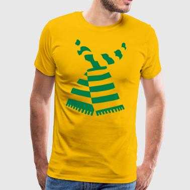 Scarf Print Yellow Mens-T-Shirt With Stripes - Men's Premium T-Shirt