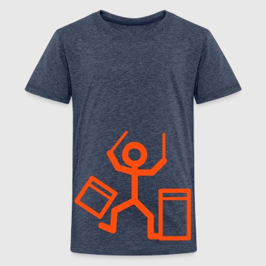 Drummers stick figure Kids' Shirts - Teenage Premium T-Shirt