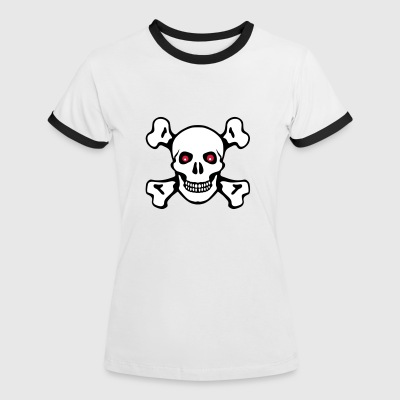 Skull crossed bones red eyes - Women's Ringer T-Shirt