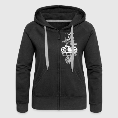 Zipped Hoodie Women - Vertical Twin Addiction -Whi - Women's Premium Hooded Jacket