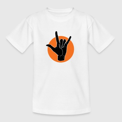 Fingeralphabet ILY black / orange - Kinder T-Shirt