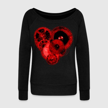 Steampunk Valentine Heart Top - Women's Boat Neck Long Sleeve Top