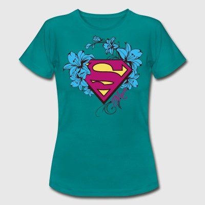 Superman Super Mom Flowers Pink Frauen T-Shirt - T-shirt Femme