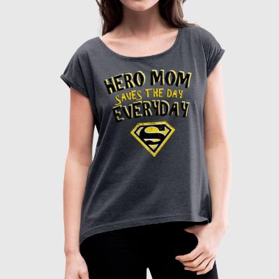Superman Super Hero Mom - Dame T-shirt med rulleærmer