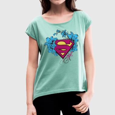 Superman Super Mom Flowers Pink - Dame T-shirt med rulleærmer