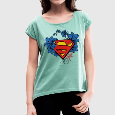 Superman Super Mom Flowers Red - Frauen T-Shirt mit gerollten Ärmeln