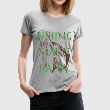 Fishing Makes Happy 2 - Frauen Premium T-Shirt