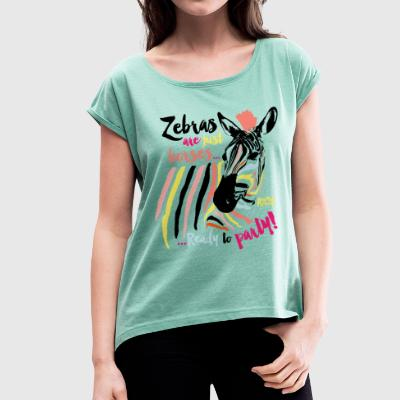 Animal Planet Women T-Shirt Zebra - Women's T-shirt with rolled up sleeves