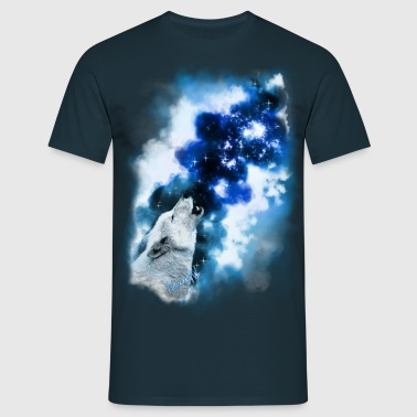 Paintery Style :Starry Wolf Night: - Männer T-Shirt