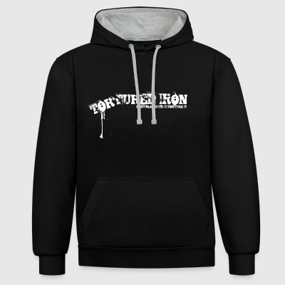 TORTURED IRON HOOD BLOOD B/W - Contrast Colour Hoodie