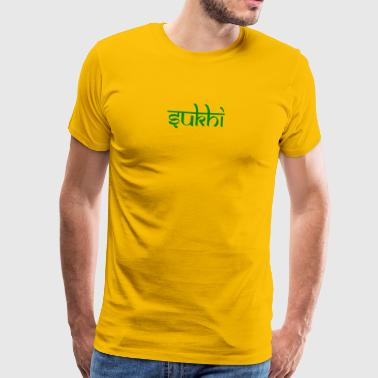Sukhi yellow mens premium shirt, green print - Men's Premium T-Shirt
