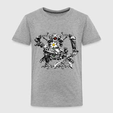 Steampunk/Cyberpunk Robot with a flower Kid's Prem - Kinderen Premium T-shirt