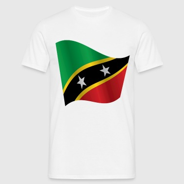 Waving Flag of Saint Kitts and Nevis - Men's T-Shirt