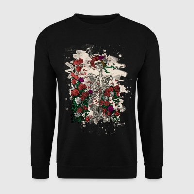Skeleton & Roses – bleached Version - Männer Pullover