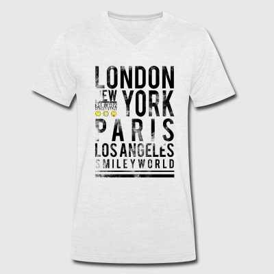 Smileyworld 'Cities' - Men's Organic V-Neck T-Shirt by Stanley & Stella