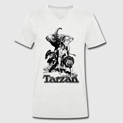 Tarzan with elephant, lion and apes - Men's Organic V-Neck T-Shirt by Stanley & Stella