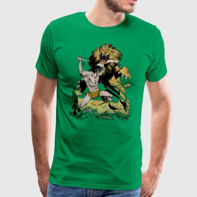 Tarzan and a wild lion - Premium T-skjorte for menn