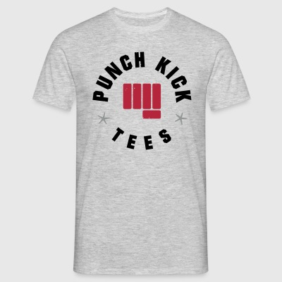 Punch Kick Emblem - Men's Tee (Grey/Red) - Men's T-Shirt