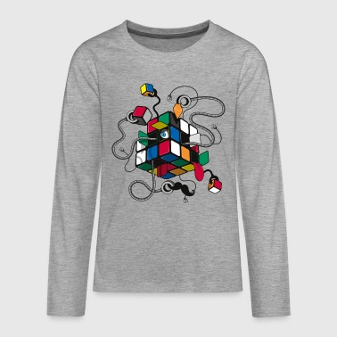 Rubik's Illustrated Cube - Teenagers' Premium Longsleeve Shirt