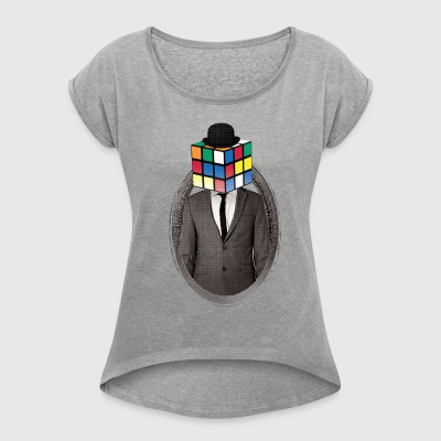 Rubik's Cube Portrait - Women's T-shirt with rolled up sleeves