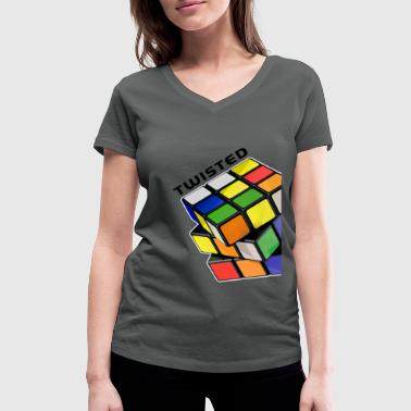 Rubik's Twisted Cube tilted - Women's Organic V-Neck T-Shirt by Stanley & Stella
