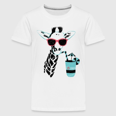 Animal Planet Africa Giraffe With Cocktail - Teenage Premium T-Shirt