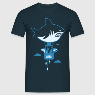 Animal Planet Humour Cool Skateboarding Shark - Men's T-Shirt